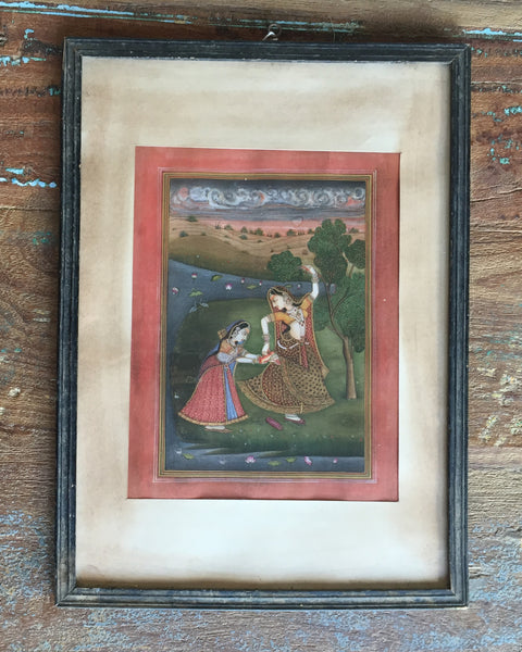 Gopis in Vintage Indian Frame - art, bohemian-chic, Boho Chic, decor, Devotional, Gift, gifts, Gopala, gopi, gopis, hindi, Hindu, hinduism, India, Indian, Indian divinities, krishna, new-nectar-exclusives, one-of-a-kind, paintings-prints, reclaimed-wood, wood