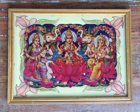 Laxmi, Saraswati, and Ganesh in Vintage Indian Frame - antique, art, decor, devotional, elephants, frame, frames, Ganesh, god, goddess, goddesses, gods, hindu, india, Lakshmi, lotus, painting, paintings, paintings-prints, Print, prints, religious, Saraswati, spiritual, vintage, wall art, wood, wooden