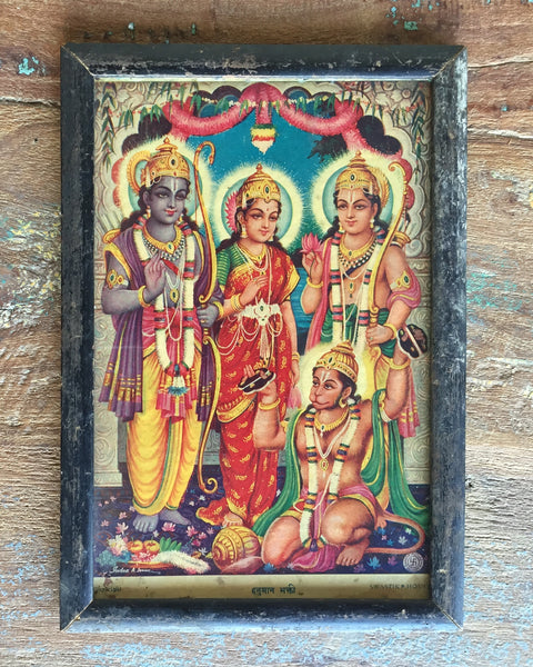 Sri, Sita Rama, Lakshmana, & Hanuman in Vintage Indian Frame - art, bohemian-chic, Boho Chic, decor, devotional, frame, frames, god, goddess, goddesses, gods, Hanuman, Hindu, india, krishna, Lakshmi, monkey god, one-of-a-kind, painting, paintings, paintings-prints, Print, prints, religious, spiritual, vishnu, wall art, wood, wooden