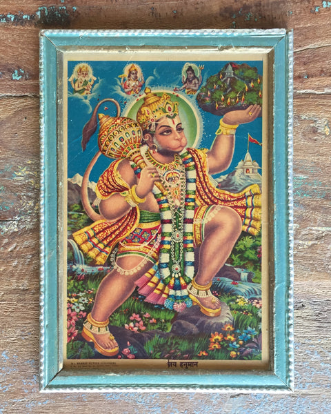Monkey-God Hanuman Strides Across A Mountain Meadow in Vintage Indian Frame
