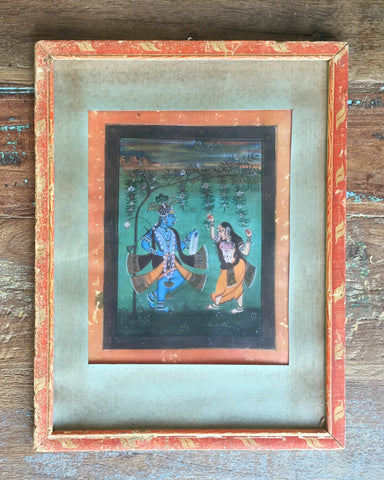 Radha Krishna in Vintage Indian Frame - antique, art, arts, calligraphic, decor, devotional, frame, frames, god, goddess, goddesses, gods, gopi, gopis, hand made, Handpainted, hindi, Hindu, hinduism, india, Indian, Indian divinities, krishna, painting, paintings, paintings-prints, radha, religious, spiritual, vintage, vishnu, wall art, wall hanging, wood, wooden