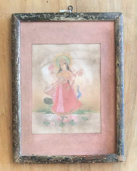 hinduism, god, goddess, hindu, vintage, print, antique, Indian, India, Bohemian, Boho, Home decor, wall art, wall hanging, house and home, accent, details, paintings, decor, art, Saraswati