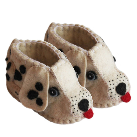 Fair Trade Felted Dalmatian Baby Booties - assorted-styles, baby, Baby Booties, baby-shower-gifts, clothing-shoes-accessories, Dog, eco friendly, Felted, gifts for kids, handmade, kids clothing, Puppy, social-responsibility, supporting-women, Wool