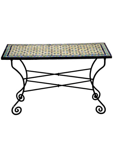 Moroccan Tiled Table with Iron Base - Outdoor Dining - Shop Nectar - 2