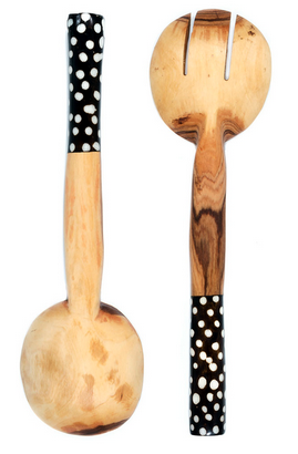 Fair Trade Hand Carved Batik Polka Dot Servers - Serving Utensils - Shop Nectar - 2