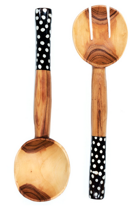 Fair Trade Hand Carved Batik Polka Dot Servers - Serving Utensils - Shop Nectar - 1