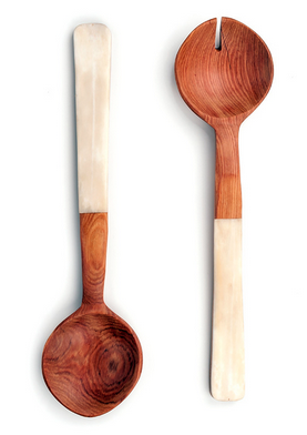 Fair Trade Flat Bone Handle Servers - africa, African, bone inlay, eco, fair-trade, flatware-utensils, handmade, Kenya, kitchen-dining, Natural, new-arrivals-in-kitchen-dining, salad server, Salad Servers, serveware, serving-utensils, sustainably, sustainably harvested, tabletop-dinnerware-1, white, wood