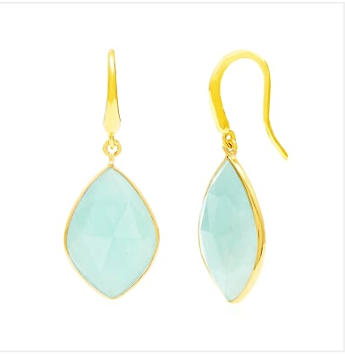 Auren Almond Amazonite Drop Earrings 18ct Gold Vermeil