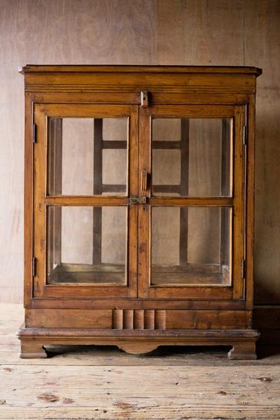 Antique Wood and Glass Display Cabinet - antique, antique brass, cabinet, cabinets, dressers-armoires-storage, eco, furniture, glass, handmade, India, new-arrivals-in-furniture, new-nectar-exclusives, one-of-a-kind, vintage, wood