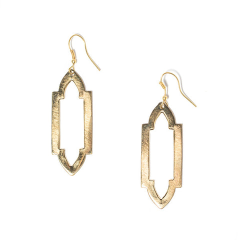 Fair Trade Slim Ashram Window Earrings - accessories, day, drop-earrings, earrings, fair-trade, gift, gifts, gold, handmade, her, jewelry, mothers, Sustainable