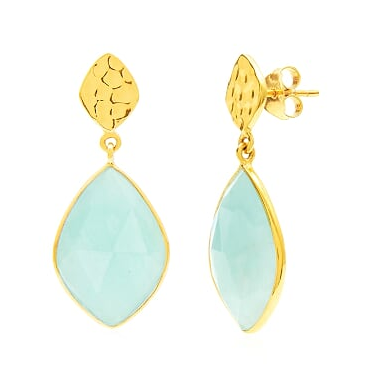 Auren Almond Amazonite Drop Earrings with Hammered Stud Top 18ct Gold Vermeil - 18ct Gold Vermeil, accessories, Amazonite, assorted-styles, bohemian-chic, Boho Chic, dangle earring, dangle earrings, drop earring, drop-earrings, earrings, Eco, Gift, gifts, gifts-for-her, gifts-for-him, gifts-for-the-bridesmaids, gold, gold jewelry, gold plated, Gold Vermeil, hammered stud, handmade, jewelry, mothers, new-arrivals-in-jewelry, staff-picks-jewelry, stone jewelry, stud earring, stud earrings