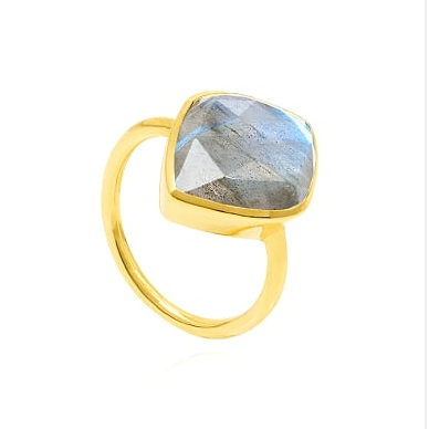 Auren Almond Labradorite Rose Cut Ring 18ct Gold Vermeil - rings