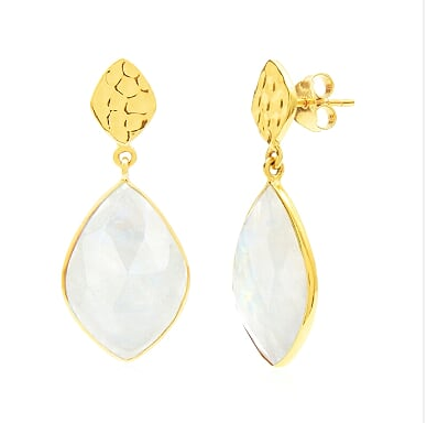 Auren Almond Moonstone Drop Earrings with Hammered Stud Top 18ct Gold Vermeil