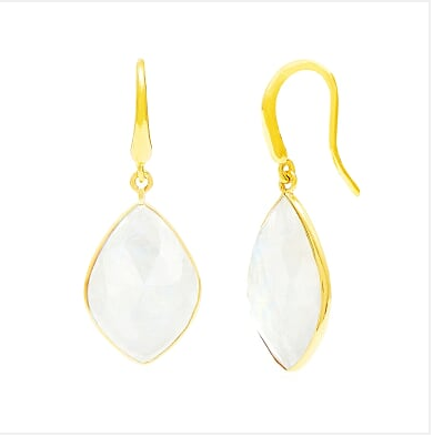 Auren Almond Moonstone Drop Earrings 18ct Gold Vermeil - 18ct gold vermeil, accessories, assorted-styles, bohemian-chic, Boho Chic, dangle earring, dangle earrings, day, drop earring, drop-earrings, earring, earrings, Gift, gifts, gifts-for-her, gifts-for-the-bridesmaids, gold, gold earrings, gold jewelry, gold plated, Gold Vermeil, handmade, hanging earrings, hook earrings, jewelry, moonstone, Moonstone earrings, mothers, new-arrivals-in-jewelry, staff-picks-jewelry, stone earrings