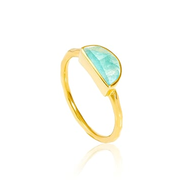 Auren Crescent Amazonite Small Stackable Ring 18ct Gold Vermeil, stackable rings, gold jewelry, bohemian jewelry, vermeil, gifts, gifts for her