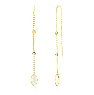 Auren Marquis Chain Earrings with Blue & Lemon Topaz 18ct Gold Vermeil