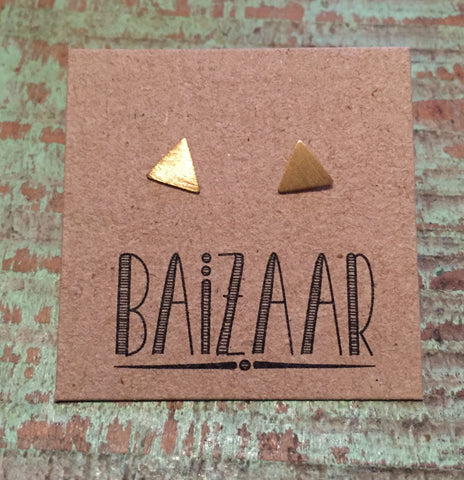Baizaar Fair Trade Brushed Triangle Stud Earrings - accessories, baizar, bohemian-chic, Boho Chic, earring, ethically sourced, silver, sterling-silver, fair, fair-trade, fair-trade jewelry, fairtrade, Gift, gifts, gifts-for-her, gifts-for-the-bridesmaids, gold, gold plated, handmade, jewelry, new-arrivals-in-jewelry, precious stone, stone, stone earrings, stone jewelry, stones, stud earring, stud earrings