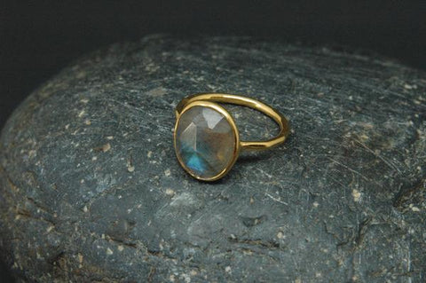 Baizaar Fair Trade Gold Plated Cut Stone Ring - adjustable, baizar, bohemian-chic, Boho Chic, boho style, ethically sourced, fair-trade, fair-trade jewelry, fairtrade, Gift, gifts, gifts-for-her, gold, gold plated, handmade, jewelry, labradorite, moonstone, mothers, new-arrivals-in-jewelry, ring, simple