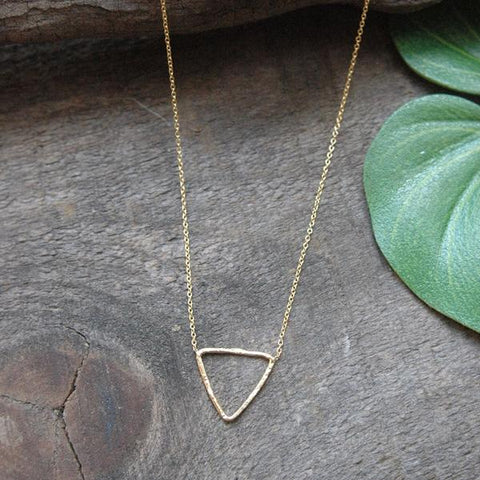 Baizaar Fair Trade Gold Plated Triangle Necklace - accessories, accessory, adjustable, baizar, bohemian-chic, Boho Chic, boho style, ethically sourced, fair-trade, fair-trade jewelry, fairtrade, Gift, gifts, gifts-for-her, gold, gold plated, handmade, jewelry, mothers, necklace, new-arrivals-in-jewelry, simple