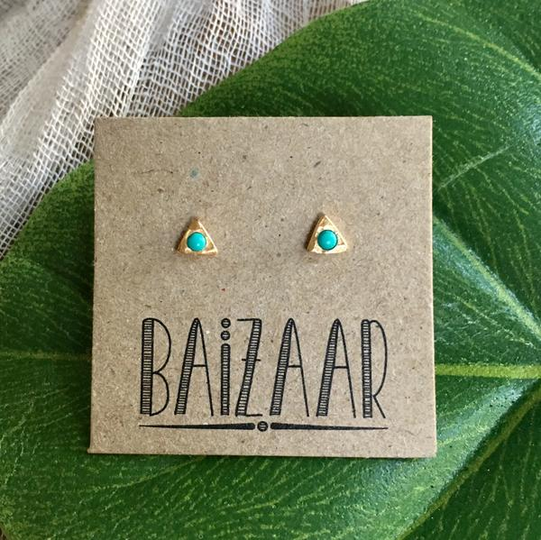Baizaar Fair Trade Gold Plated Triangle Turquoise Drop Stud Earrings - accessories, baizar, bohemian-chic, Boho Chic, earring, ethically sourced, fair, fair-trade, fair-trade jewelry, fairtrade, Gift, gifts, gifts-for-her, gifts-for-the-bridesmaids, gold, gold plated, handmade, jewelry, new-arrivals-in-jewelry, precious stone, stone, stone earrings, stone jewelry, stones, stud earring, stud earrings, Turquoise, turquoise earring, turquoise studs