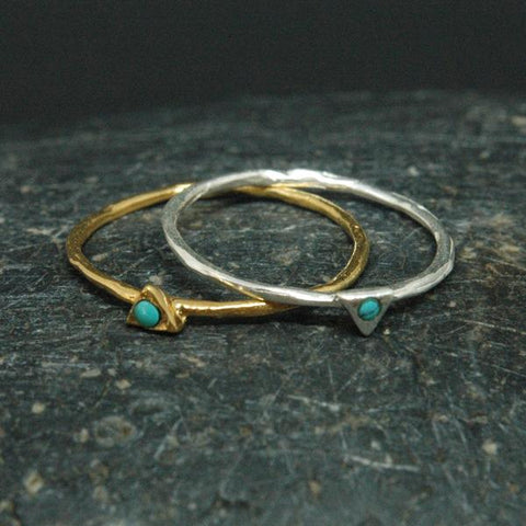Baizaar Fair Trade Tiny Gold Plated Turquoise Triangle Ring - adjustable, baizar, bohemian-chic, Boho Chic, boho style, ethically sourced, fair-trade, fair-trade jewelry, fairtrade, Gift, gifts, gifts-for-her, gifts-for-the-bridesmaids, gold, gold plated, handmade, jewelry, mothers, new-arrivals-in-jewelry, ring, simple, triangle, triangular, Turquoise, turquoise ring