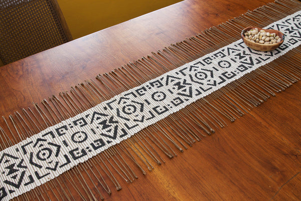Fair Trade Black and White Geometric Twig Runner - africa, African, bohemian-chic, cotton, dining room decor, eco, eco-friendly, fair-trade, Gift, gifts, gifts-for-her, gifts-for-him, gifts-for-the-couple, Handcrafted, handmade, kitchen-dining, mothers, New Arrivals : Kitchen & Dining, new-arrivals-in-kitchen-dining, patterned, Sustainable, sustainably, sustainably harvested, sustainably sourced, Swahili African Modern, table runner, table-linens, tabletop, wood