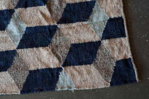 Blue Geometric Handmade Fair Trade Guatemalan Rug by Meso - accent-details, assorted-styles, decor, fair-trade, geometric, Guatemala, Hand Woven, handcrafted, handmade, handwoven, home decor, new-arrivals-in-decor, rug, rugs, rugs-runners, Wool, wool rugs
