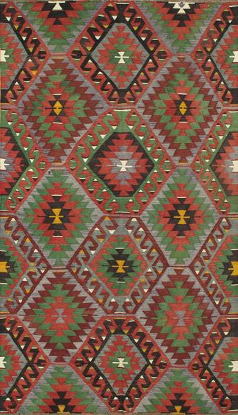 Bold Kilim Rug with Red and Green Diamonds - accent-details, apadana, area rug, area rugs, Boho Chic, boho style, decor, Ethnic, hand knit, Hand Loomed, Hand Woven, handmade, kilim, Kilim rug, Made in Turkey, one-of-a-kind, rug, rugs, rugs-runners, textile, Turkish Kilim Rug, vintage, wool