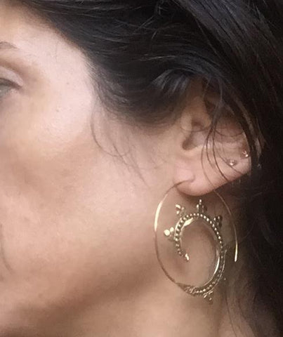 Brass Serpent Artisan Made Hoop Earrings