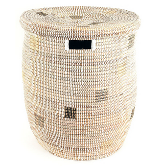 Brown On White Fair Trade Sahara Hamper - africa, African, Basket, bathroom, decor, eco, fair-trade, hampers, handmade, organizing-storage, patterned, recycled, storage, sustainably, sustainably harvested