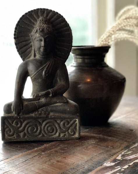 Dark Stone Buddha - accent decor, accessories, antique, Antique statue, bird-baths-statuary, bohemian-chic, Boho Chic, Buddha, buddhism, buddhist, decor, garden-outdoor, Gift, gifts, gifts-for-her, gifts-for-him, gifts-for-the-couple, handmade, hindi, Hindu, hinduism, home decor, India, Indian, Indian decor, Indian divinities, new-arrivals-in-decor, new-arrivals-in-garden-outdoor, new-arrivals-in-gifts-indulgences, new-nectar-exclusives, oddities-treasures, one-of-a-kind