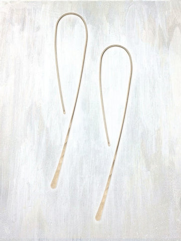 Simple Hook Earring by Fail - 14k Gold, american-made, drop-earrings, earring, earrings, Gift, gifts, hammered, hand hammered, handmade, jewelry, metal, rose gold, simple, Sterling Silver