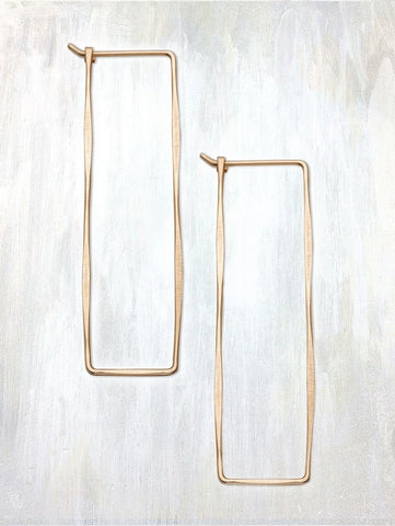 Rectangle Hoop Earrings by Fail - 14k Gold, accessories, american-made, earring, earrings, Gift, gift for her, gifts, gold, hand hammered, hand-made, handmade, Hoop, hoops, jewelry, rectangular, rose gold, silver, Sterling Silver