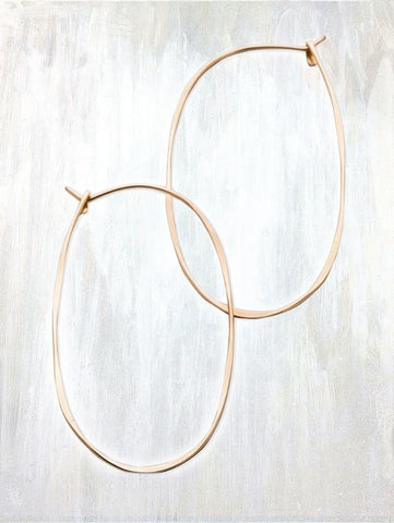 Oval Hoop Earring by Fail - 14k Gold, accessories, american-made, delicate, earring, earrings, gifts, gold, hammered, hand-made, handmade, Hoop, hoops, jewelry, rose gold, Sterling Silver
