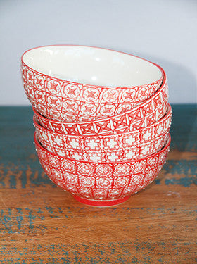 Chehoma Red & White Ceramic Bowls - Bowls - Shop Nectar - 2