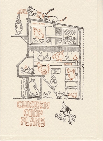 "Saturn Press ""Chicken Coop Plans"" Letterpress Card"