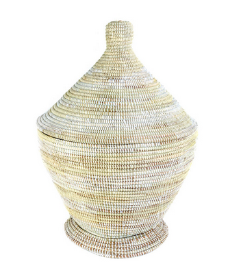 Cream & White Fair Trade Tagine Basket - africa, African, baskets, bathroom, decor, eco, fair-trade, Hand Woven, handmade, Kitchen Storage, organizing-storage, recycled, storage, sustainably, sustainably harvested