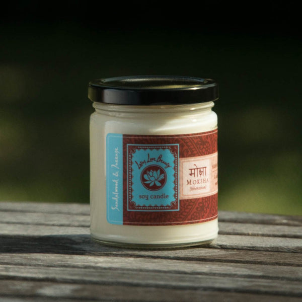Lotus Love Moksha candle, Shop Small, woman owned business, paraben free candles, small batch hand poured candles, Lotus Love Beauty jar candle, essential oil candle, gifts that give, unique gifts, great gifts under $25