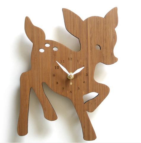 Decoylab Design Lab Kids Bamboo Wall Clock - Fawn - American Made, baby shower gift, baby-shower-gifts, Bamboo, Children's Decor, clock, clocks, clocs, Deer, Eco, eco-friendly, Fawn, kids decor, kids items, made in USA, new-arrivals-in-decor, new-arrivals-in-kids, Nursery, nursery decor, Sustainable, sustainably sourced