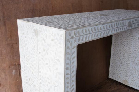 Ethically Sourced Bone and Cream Inlay Console - accent-consoles, bohemian-chic, Boho Chic, bone, buffet cabinet, console, consoles, eco, entryway, Floral, furniture, handmade, India, Inlay, Lotus, new-arrivals-furniture, new-nectar-exclusives, one-of-a-kind, side table, sideboards-consoles, sideboards-consoles-hutches, sofa table, sofa tables, Table, tables, white