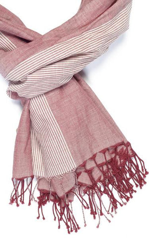 Red Faded Denim Fair Trade Scarf