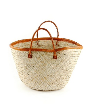 Fair Trade Palm Basket - africa, African, Basket, baskets, bathroom, bohemian-chic, Boho Chic, bright, colorful, decor, eco, fair-trade, Hand Woven, handmade, Leather Shopper, organizing-storage, palm, shopping bag, storage, sustainably, sustainably harvested