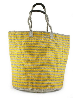 Fair Trade Large Striped Hand Woven Basket - africa, African, assorted-styles, Basket, baskets, bathroom, bohemian-chic, Boho Chic, bright, colorful, decor, eco, fair-trade, Hand Woven, handmade, Leather Shopper, organizing-storage, shopping bag, storage, sustainably, sustainably harvested