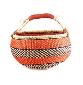 Fair Trade Ghanaian Patterned Bolga Basket - africa, African, baskets, bathroom, bright, colorful, decor, eco, fair-trade, Hand Woven, handmade, Leather Shopper, new-arrivals-in-decor, organizing-storage, shopping bag, storage, sustainably, sustainably harvested