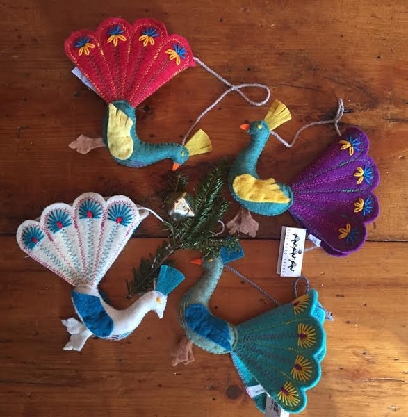 Fair Trade Felt Peacock Ornaments - animal ornament, assorted-styles, decor, Eco, eco friendly, fair-trade, felt, Felted, handmade, hanging-ornaments, holiday-decor, ornament, ornaments, Peacock, social-responsibility, supporting-women, wool