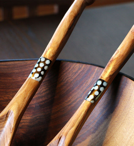 Fair Trade Bone Inlay Salad Servers - africa, African, assorted-styles, bone, eco, fair-trade, flatware-utensils, handmade, Inlay, kitchen-dining, Patterned, serveware, serving spoons, serving-utensils, sustainably, sustainably harvested, tabletop-dinnerware-1, wood