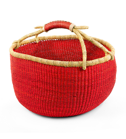 Fair Trade Ghanaian Bolga Basket - africa, African, assorted-styles, baskets, bathroom, bright, colorful, decor, eco, fair-trade, Hand Woven, handmade, Leather Shopper, organizing-storage, shopping bag, storage, sustainably, sustainably harvested