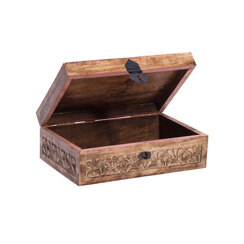 Fair Trade Botanical Treasure Box - assorted-styles, bathroom, decor, decorative-boxes, fair-trade, Hand Carved, hand made, organizing-storage, storage, Sustainable, treasure box, vanity-accessories, wedding-decor, wood