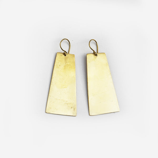 Meyelo Brass Shield Fair Trade Earrings - Drop Earrings - Shop Nectar - 1