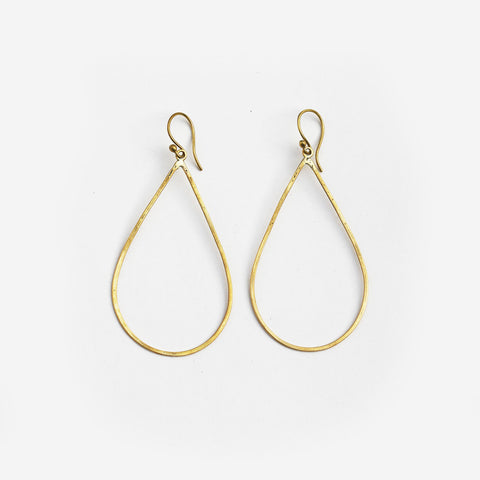 Meyelo Brass Teardrop Hoop Fair Trade Earrings - Hoops - Shop Nectar - 1